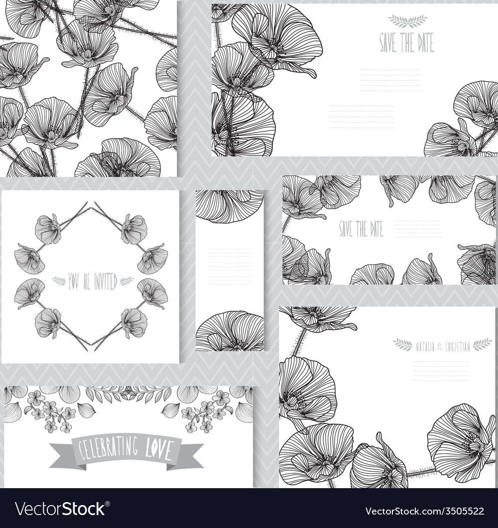 Floral cards set vector   Price: 1 Credit (USD $1)