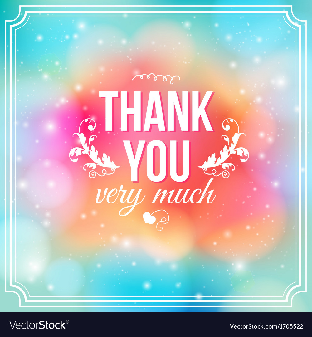 Thank you card on soft colorful background vector | Price: 1 Credit (USD $1)