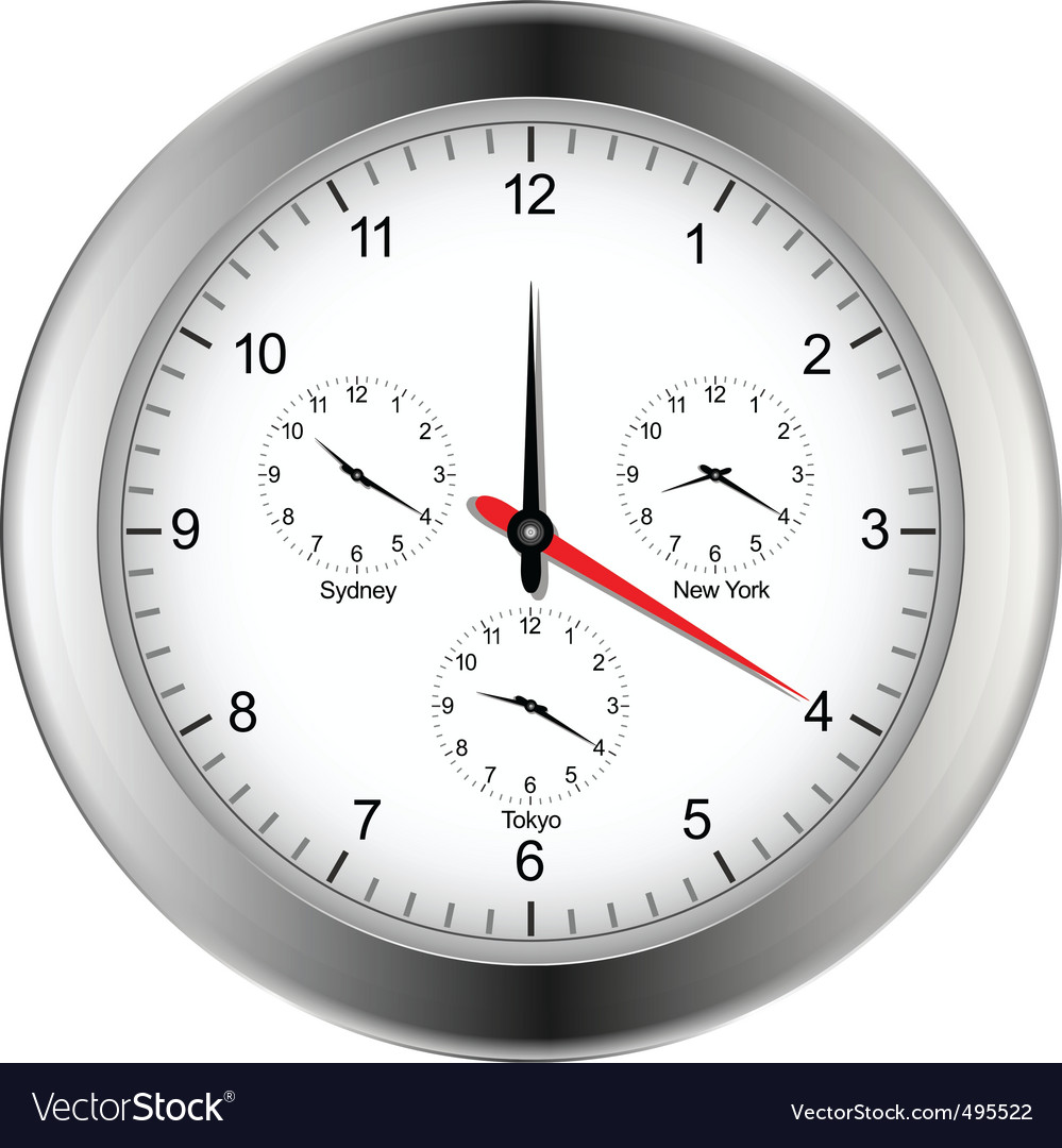 World time zone clock vector | Price: 1 Credit (USD $1)