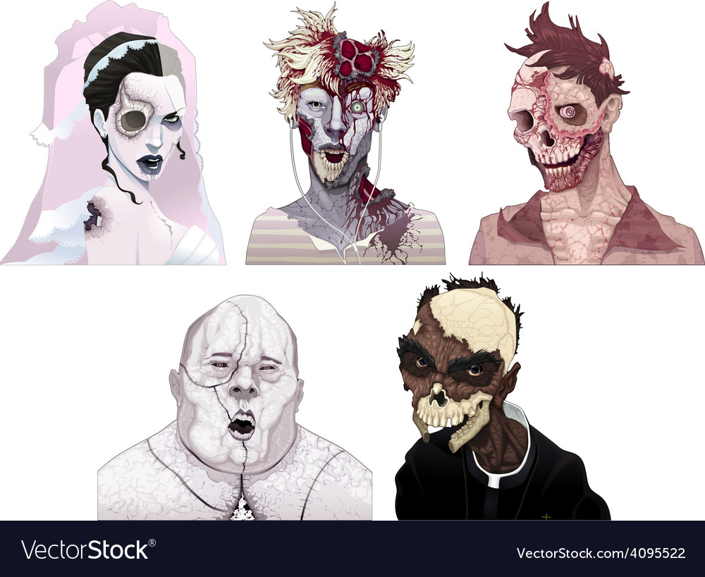 Zombie portraits vector | Price: 1 Credit (USD $1)
