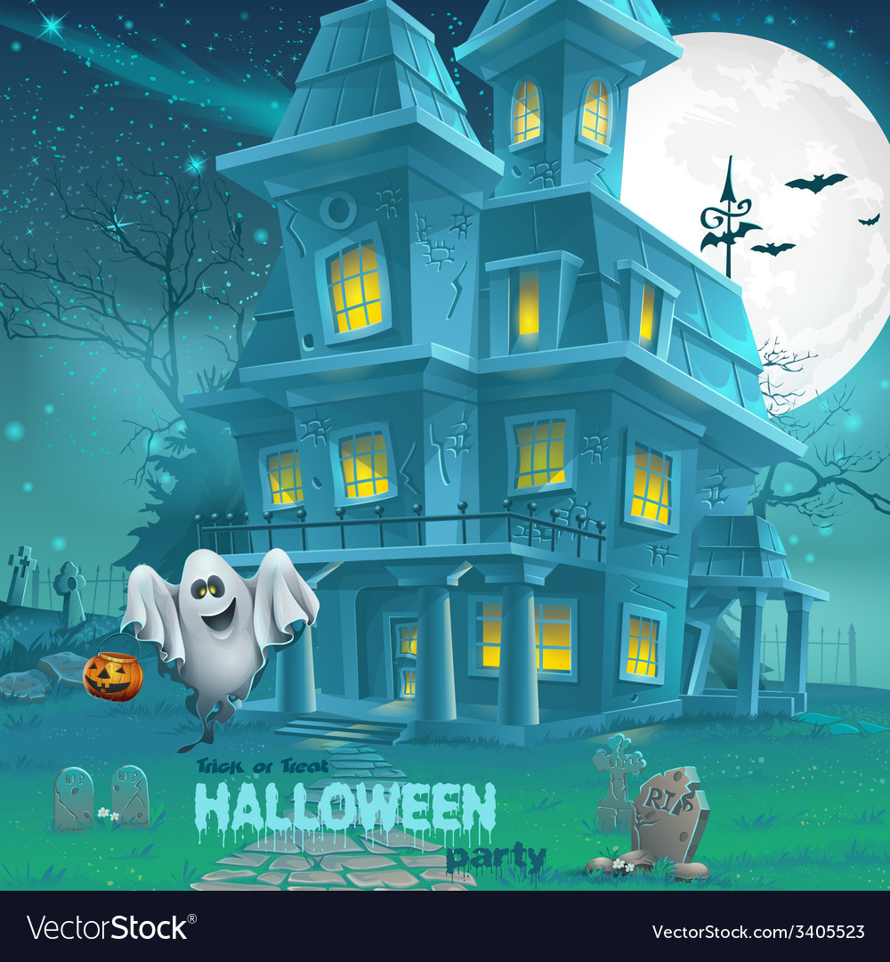 A haunted house for halloween for a party with vector | Price: 5 Credit (USD $5)