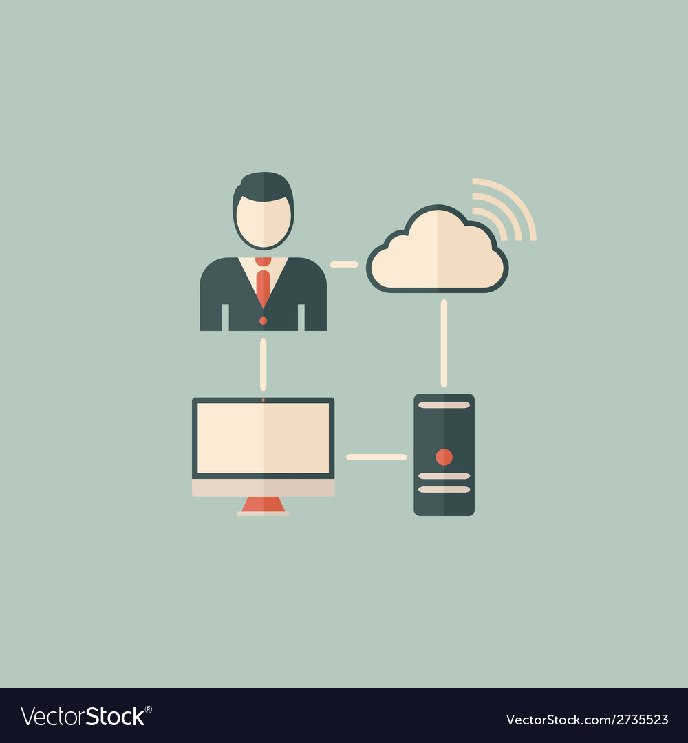 Cloud computing flat icon vector | Price: 1 Credit (USD $1)