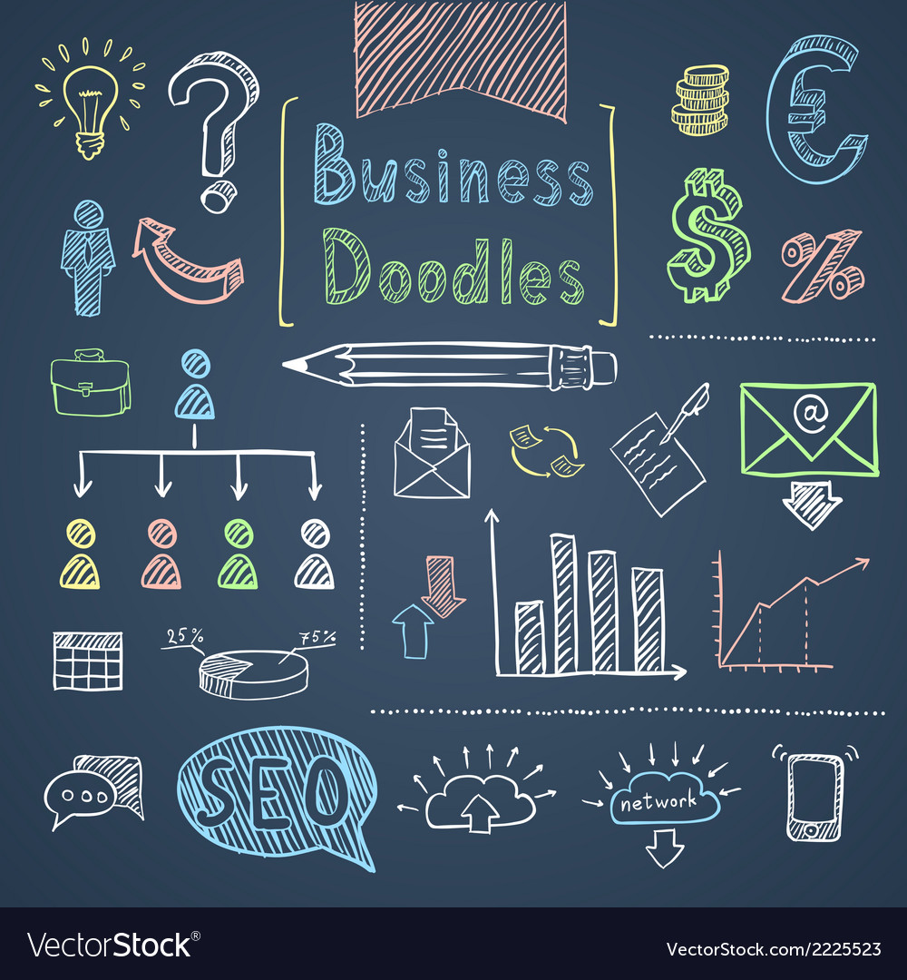 Doodle business set vector | Price: 1 Credit (USD $1)