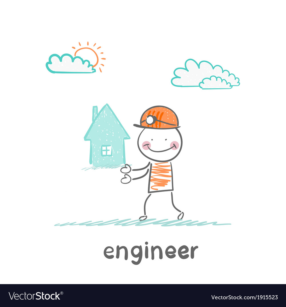 Engineer keeps the house vector | Price: 1 Credit (USD $1)