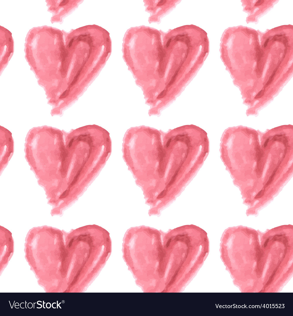 Seamless pattern of pink watercolor hearts on a vector | Price: 1 Credit (USD $1)