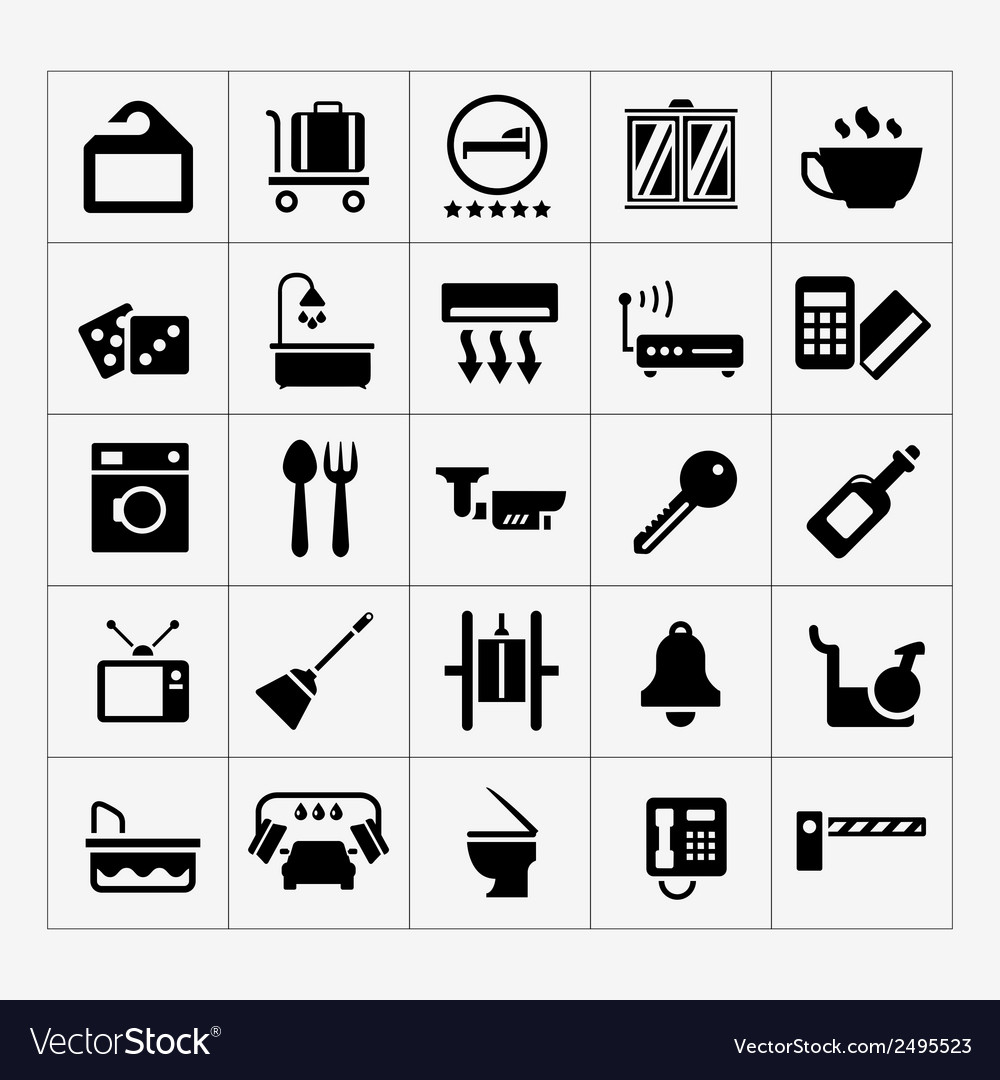Set icons of hotel hostel and rent apartments vector | Price: 1 Credit (USD $1)