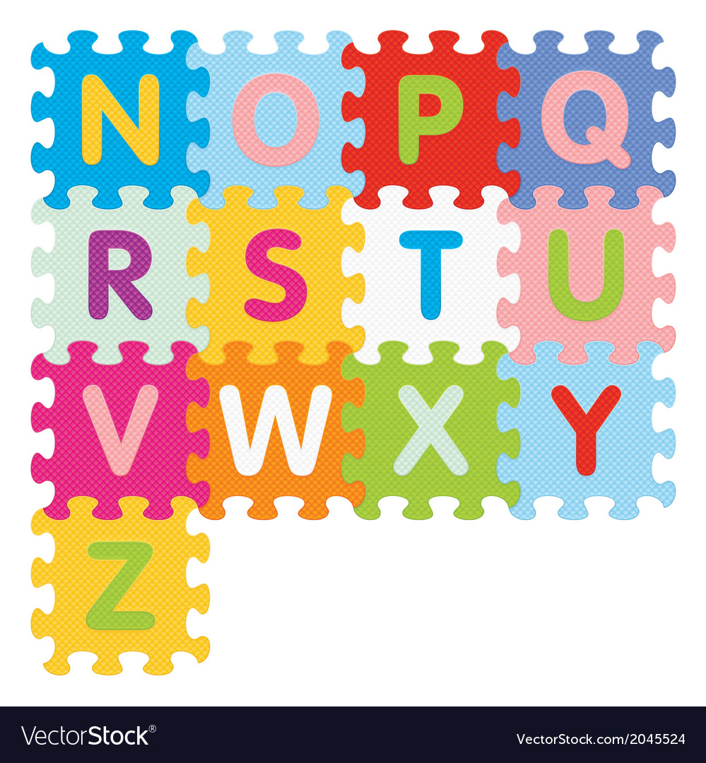 Alphabet from n to n written with puzzle vector | Price: 1 Credit (USD $1)