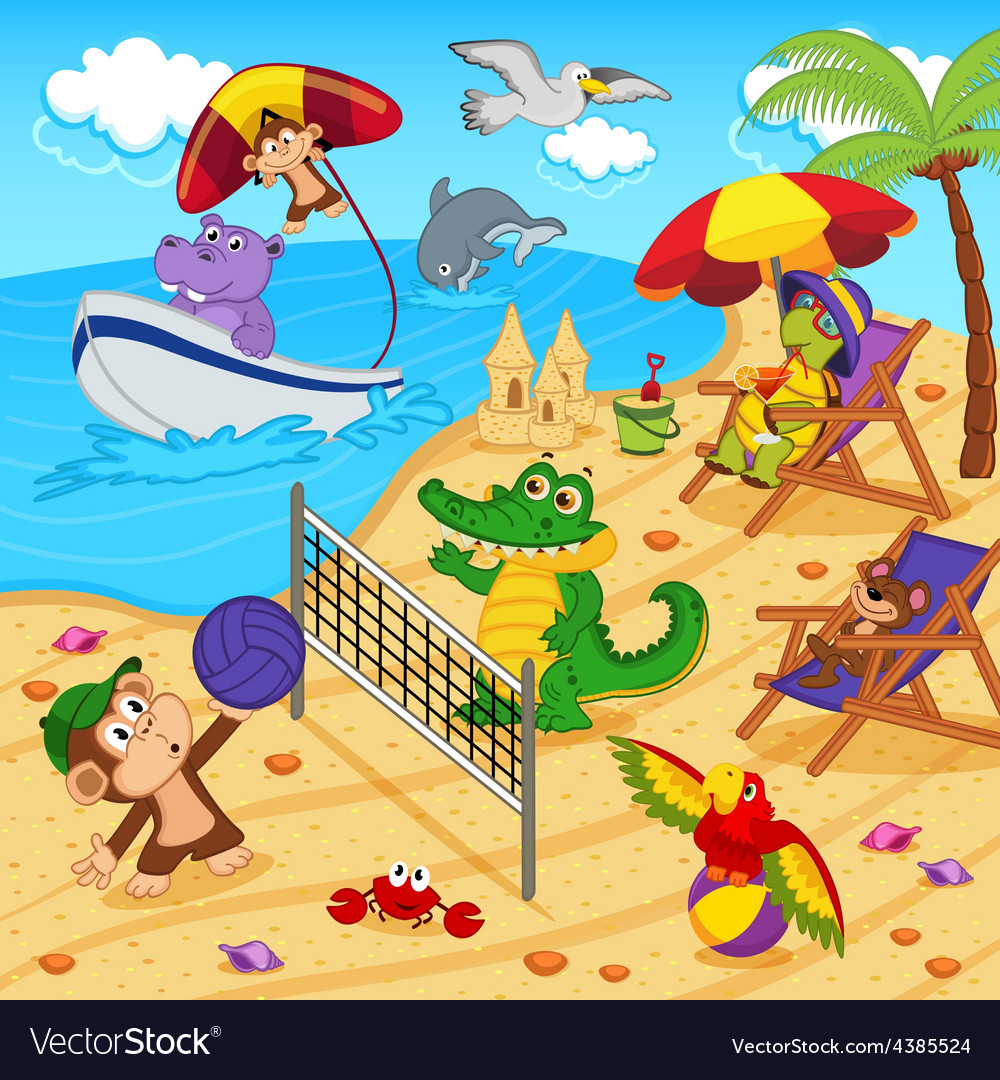 Animals resting on beach vector | Price: 3 Credit (USD $3)