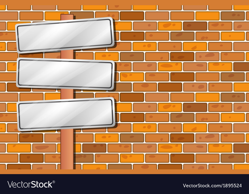 Empty signages in front of the stonewall vector | Price: 1 Credit (USD $1)