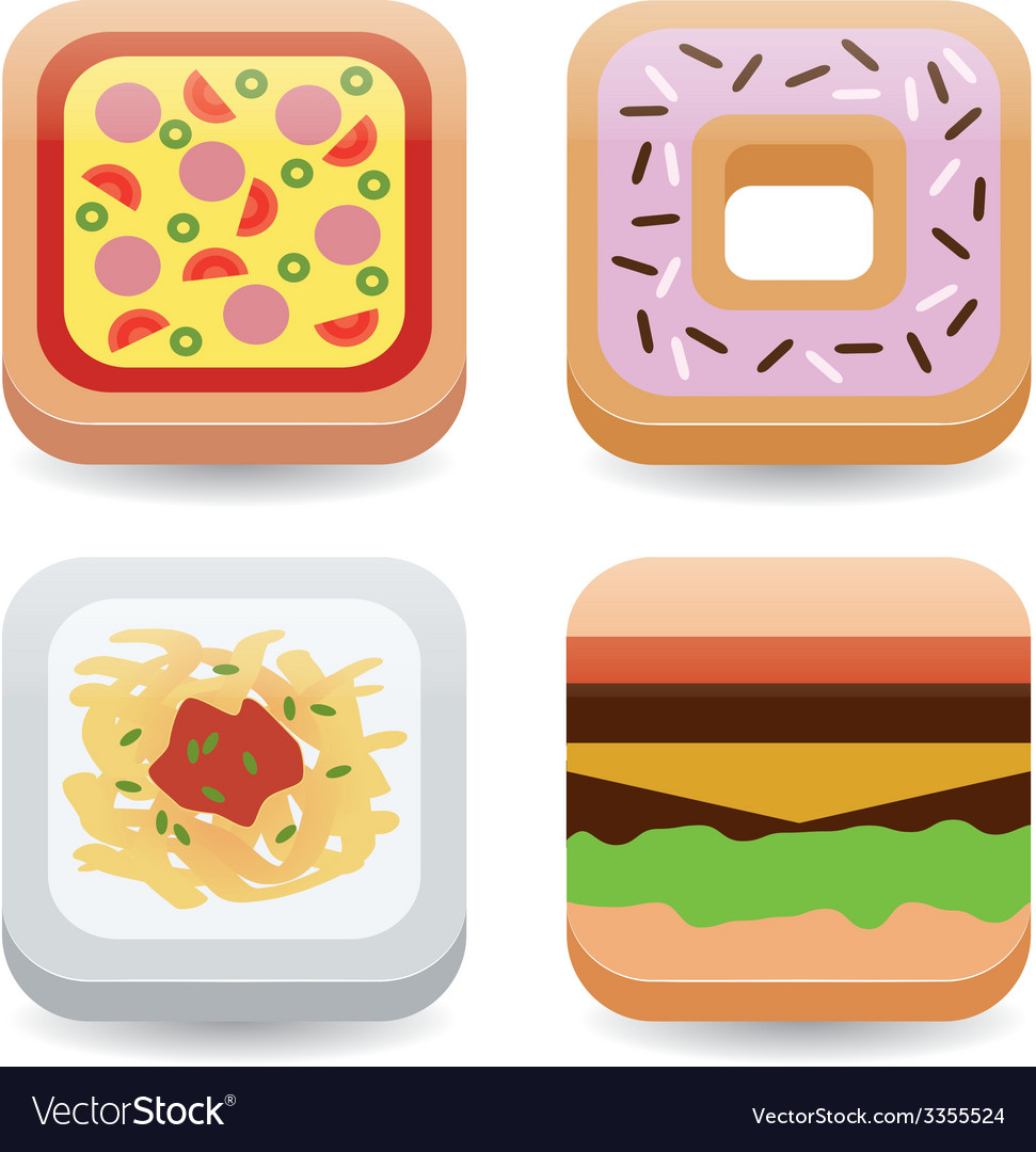 Food application icons vector | Price: 1 Credit (USD $1)