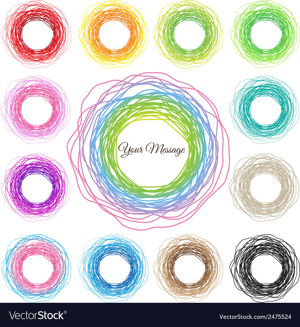 Hand drawn colorful circles abstract set vector | Price: 1 Credit (USD $1)