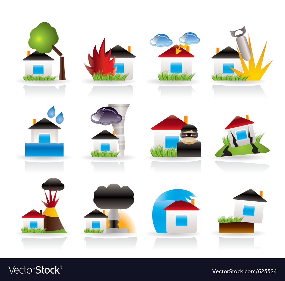 Home and house insurance and risk icons vector | Price: 3 Credit (USD $3)