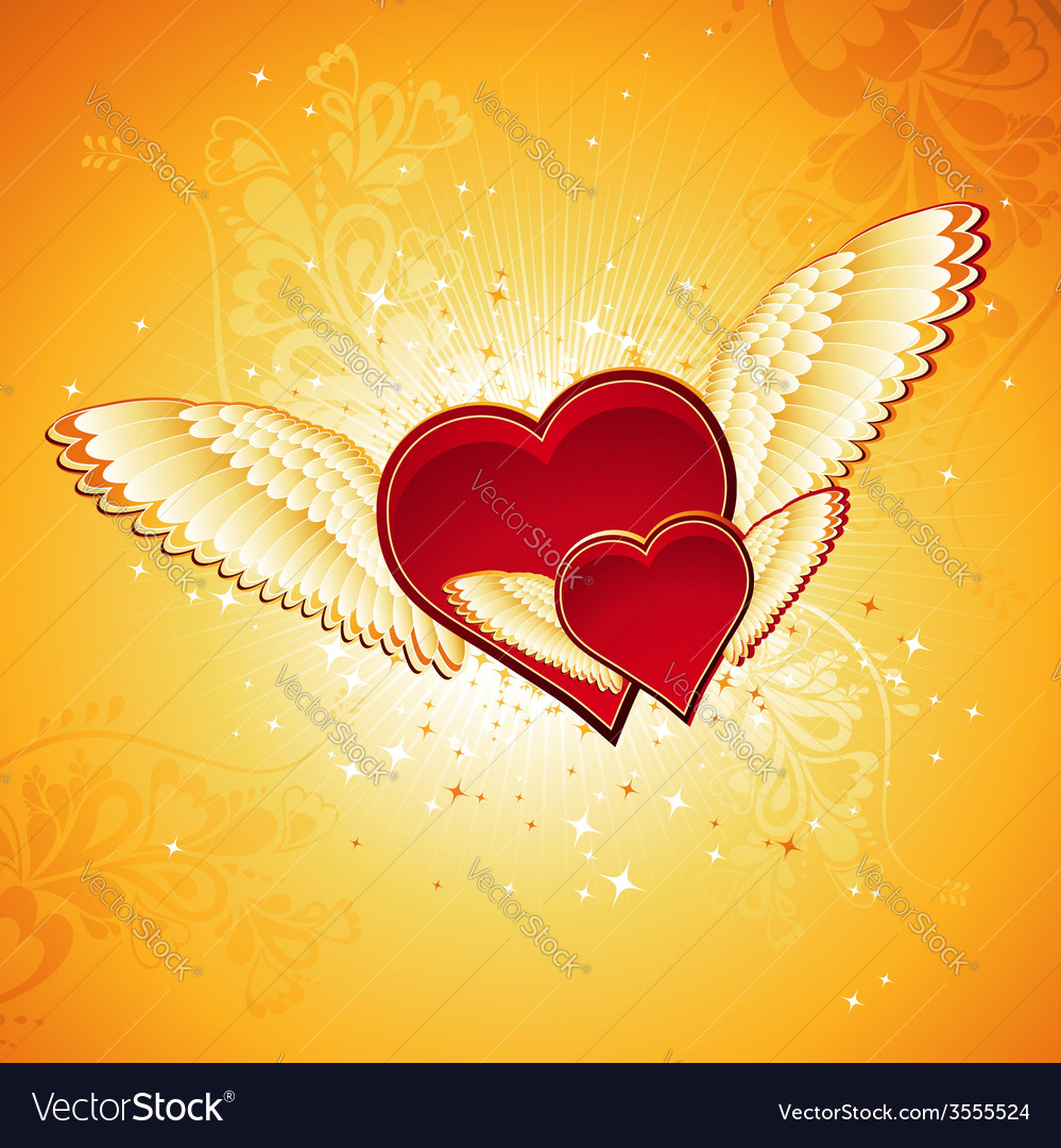Red heart on golden background with wings vector | Price: 1 Credit (USD $1)