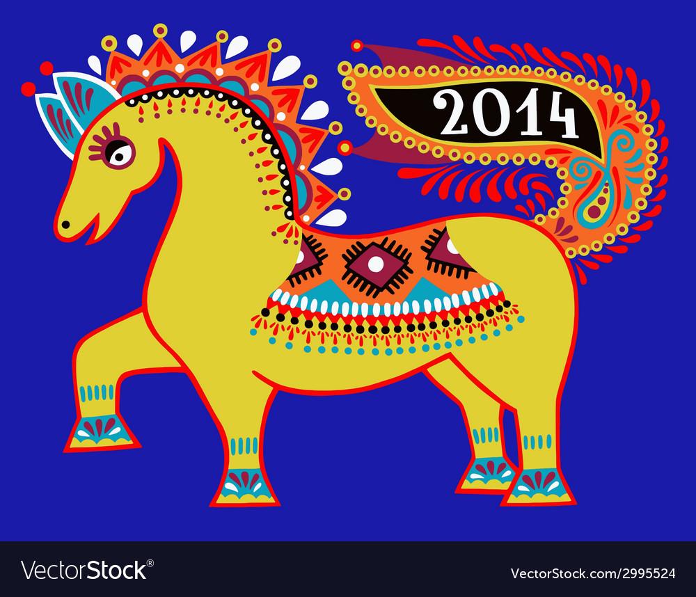 Ukrainian tribal ethnic painting unusual horse vector   Price: 1 Credit (USD $1)