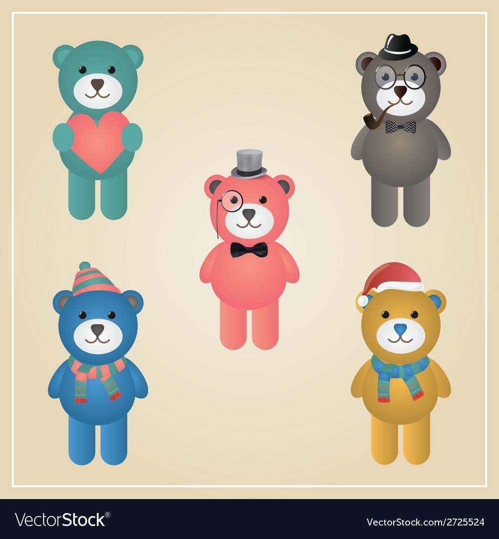 Winter hipster teddy bear vector | Price: 1 Credit (USD $1)