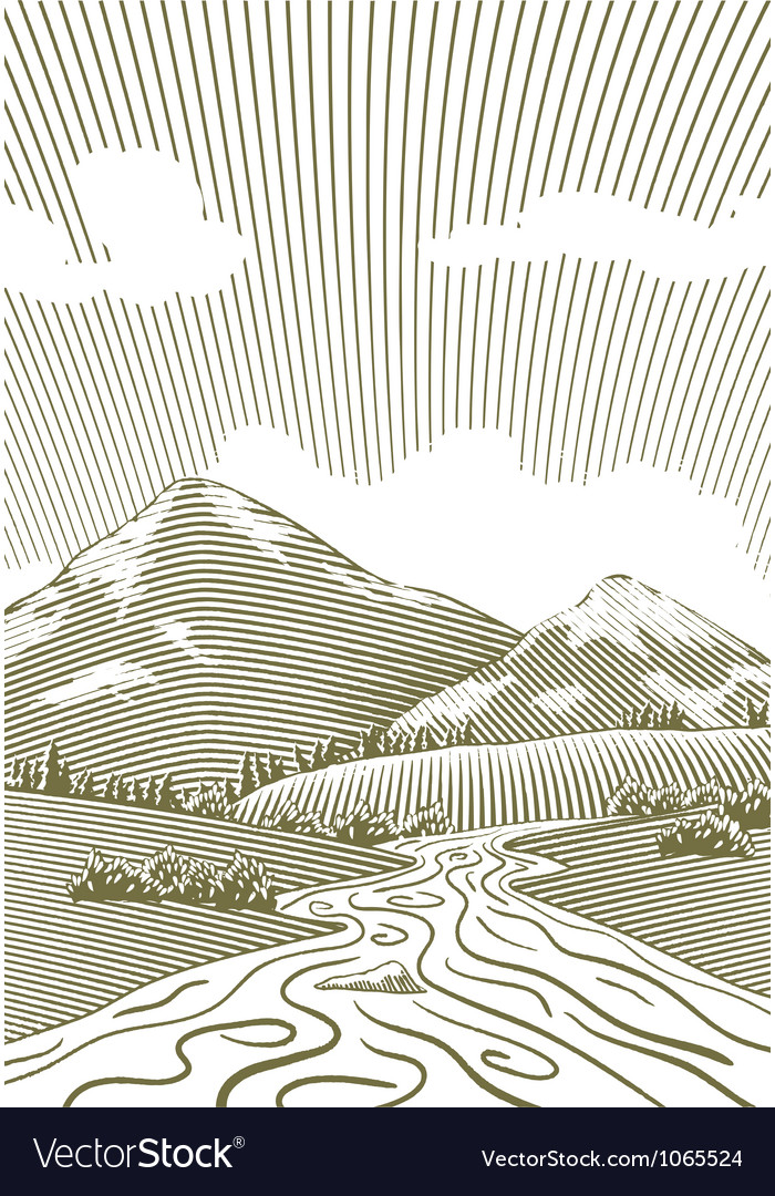 Woodcut mountain stream vector | Price: 1 Credit (USD $1)