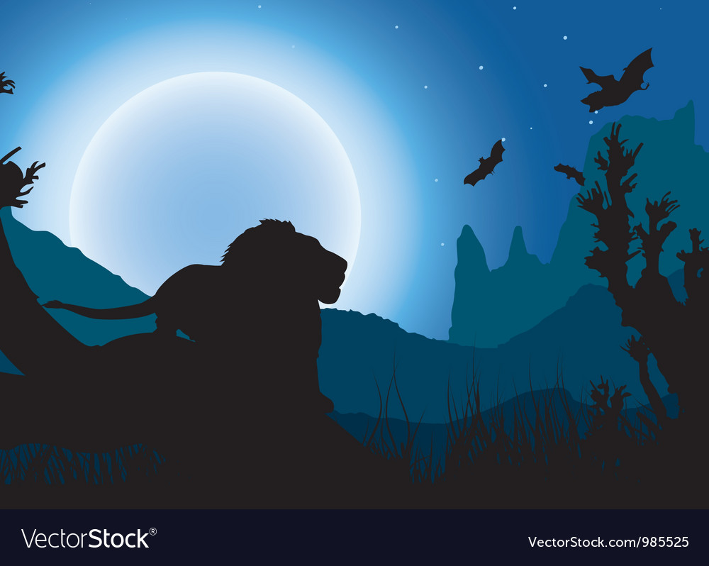 African night background lion has a rest under the vector | Price: 1 Credit (USD $1)