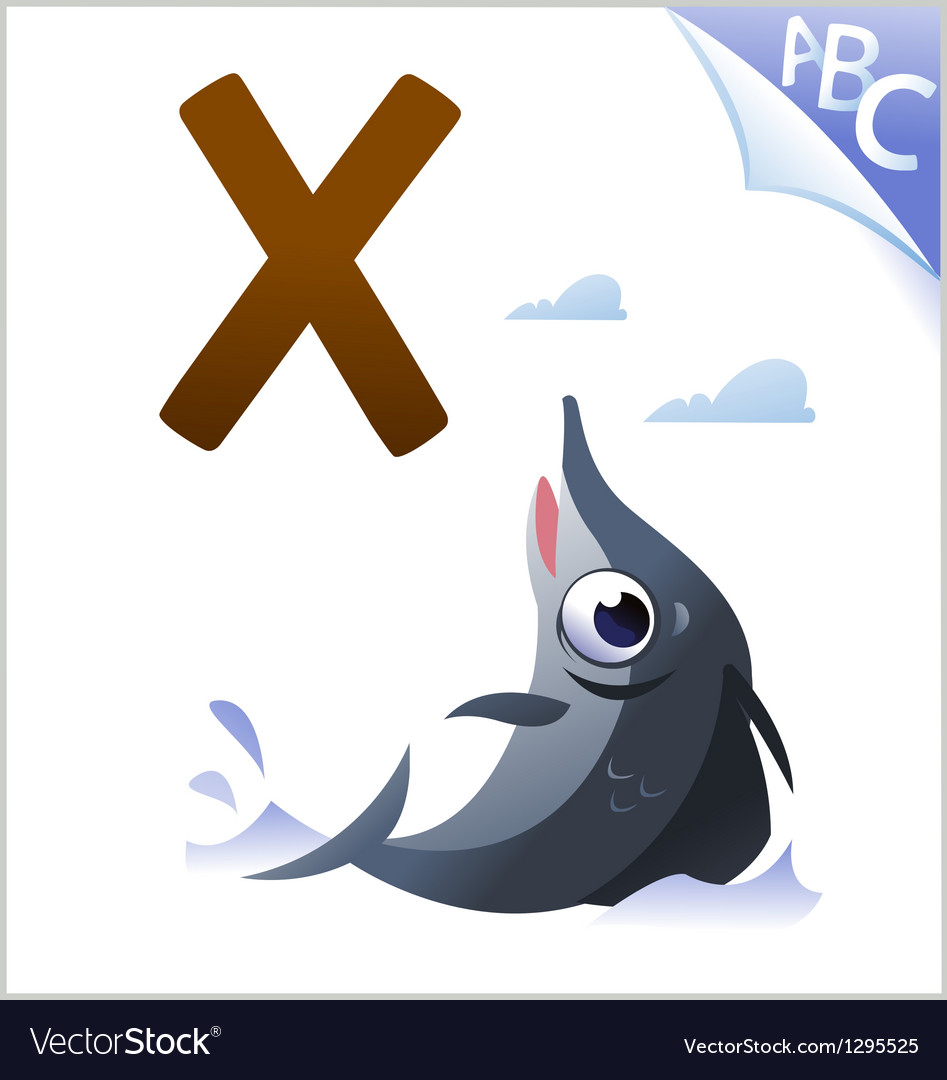 Animal alphabet for the kids x for the xiphias vector | Price: 1 Credit (USD $1)