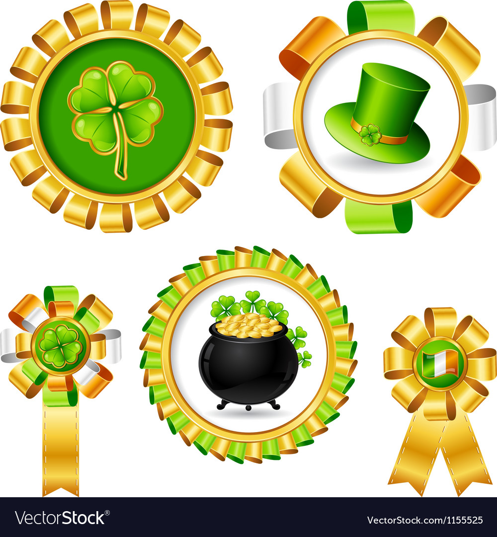 Award ribbons with saint patricks day objects vector | Price: 1 Credit (USD $1)
