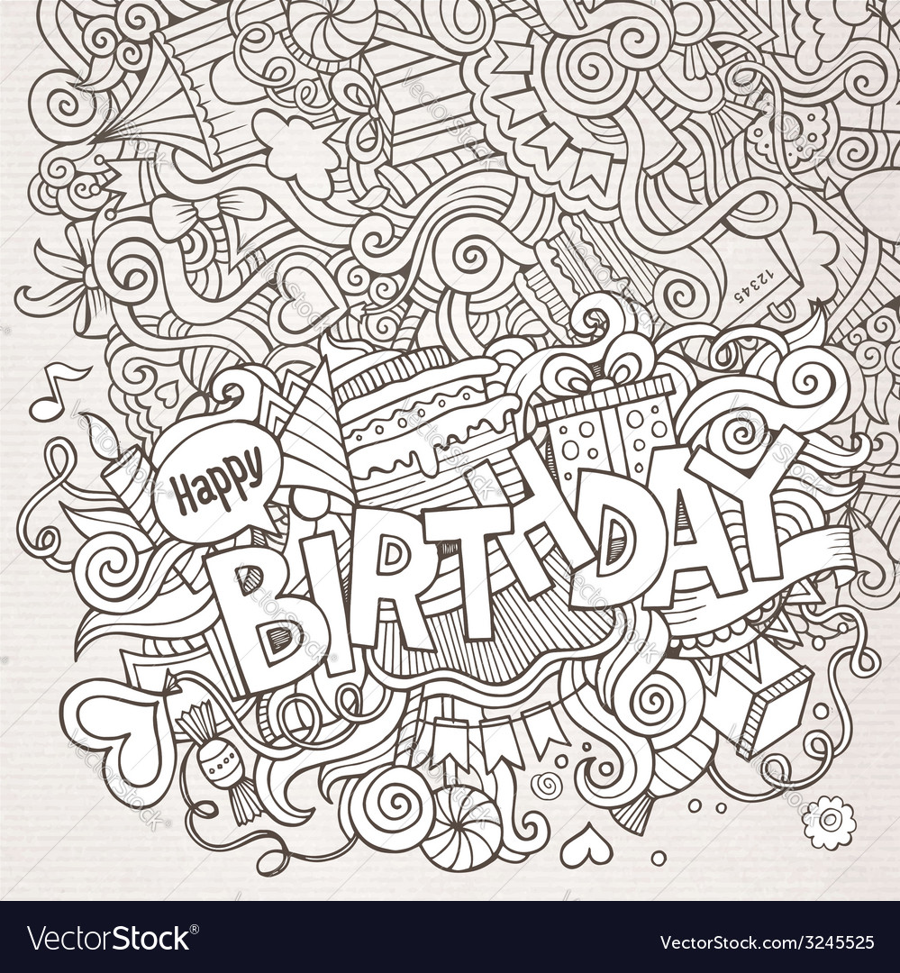Birthday hand lettering and doodles elements vector | Price: 1 Credit (USD $1)
