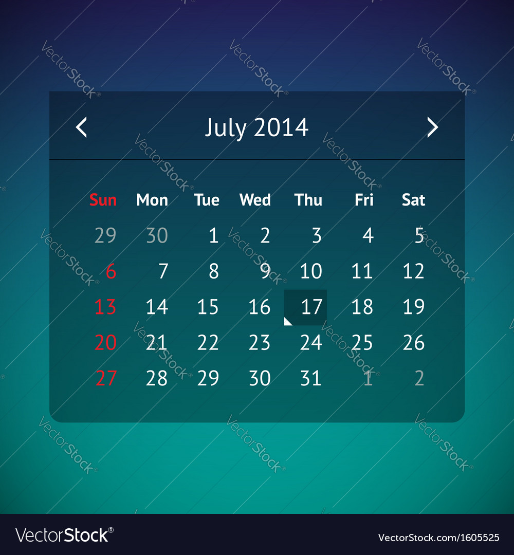 Calendar page for july 2014 vector | Price: 1 Credit (USD $1)