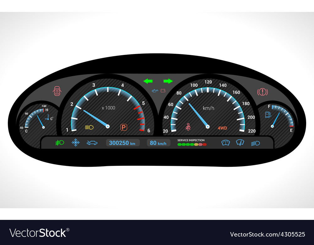 Car dashboard isolated vector | Price: 1 Credit (USD $1)