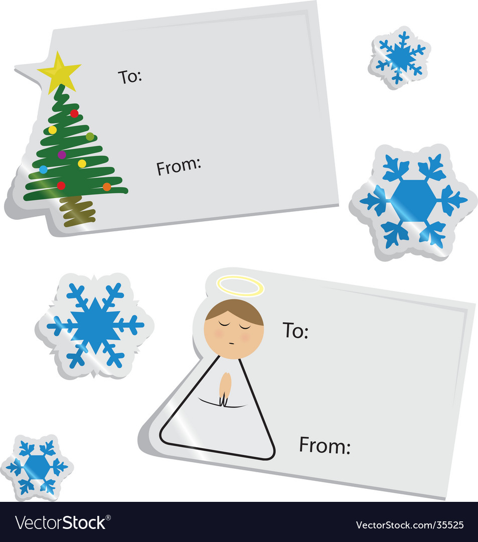 Christmas tags and stickers vector