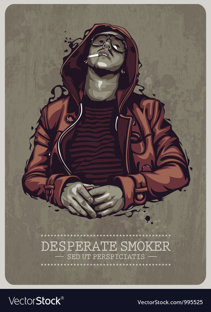 Desperate smoker vector | Price: 5 Credit (USD $5)