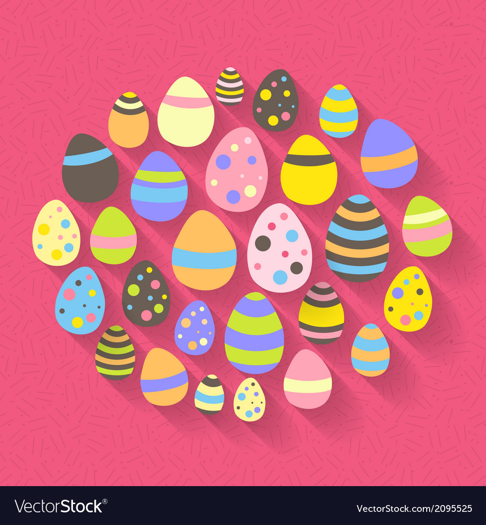 Easter eggs icon set on a pink vector | Price: 1 Credit (USD $1)