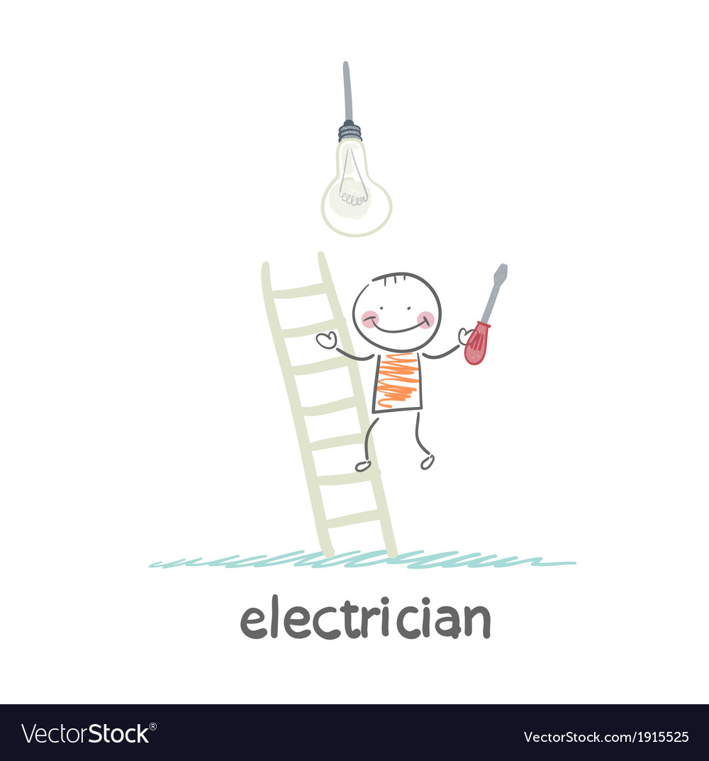 Electrical checks on the stairs bulb vector | Price: 1 Credit (USD $1)