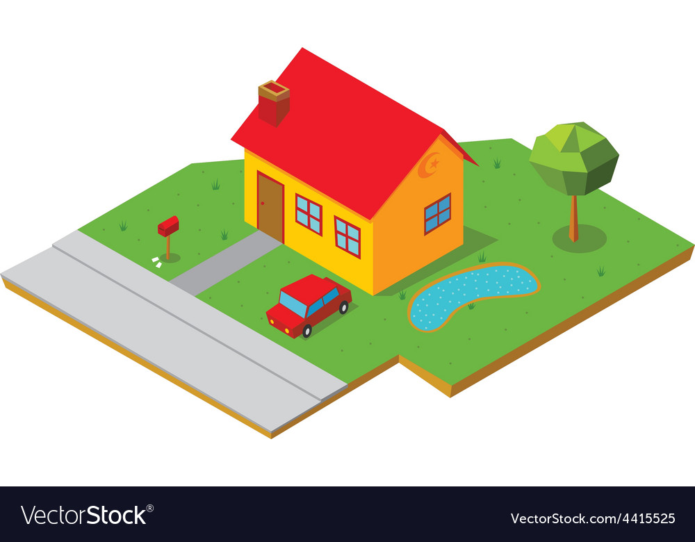 Isometric house 1 vector | Price: 1 Credit (USD $1)