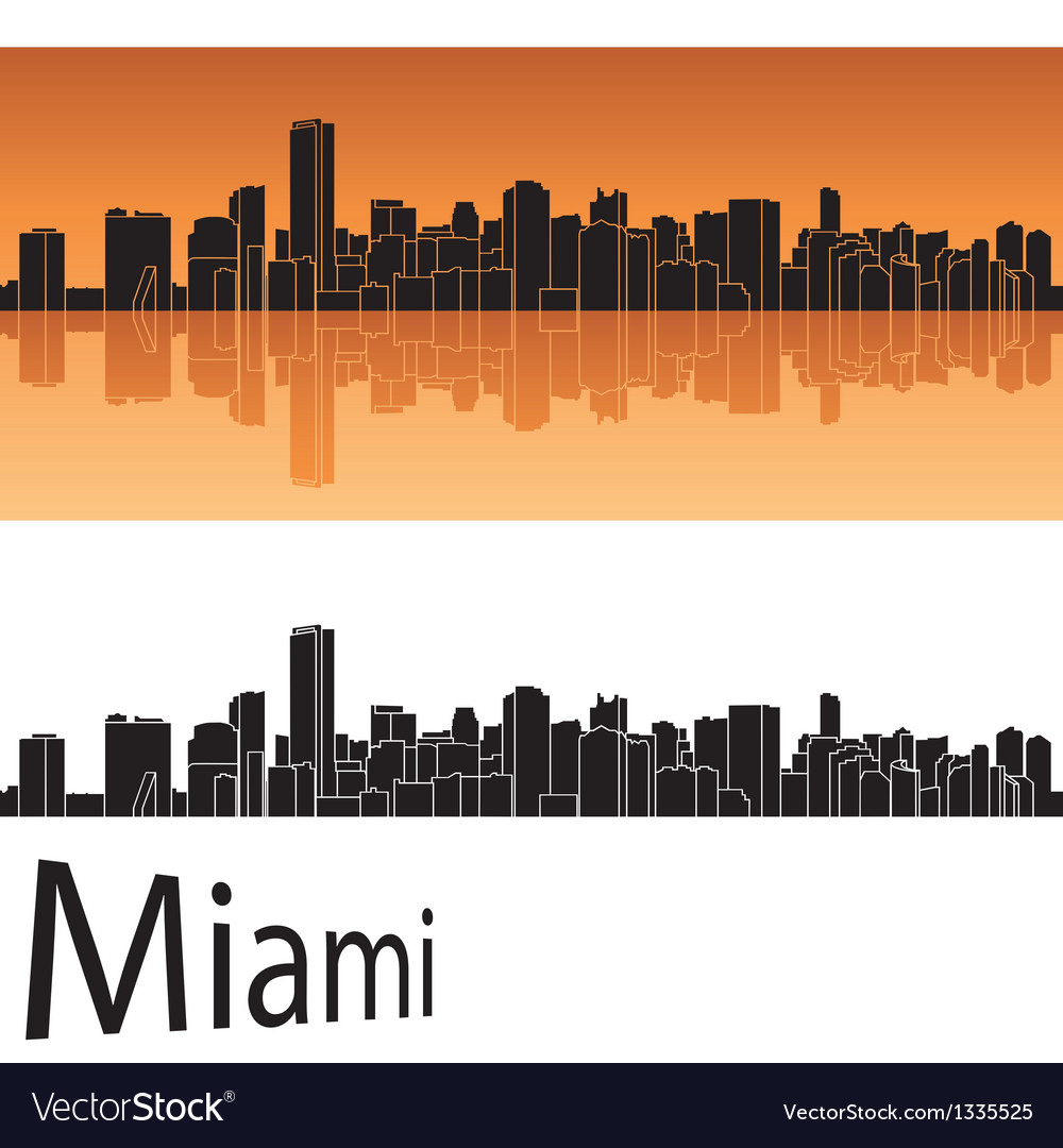 Miami skyline in orange background vector | Price: 1 Credit (USD $1)