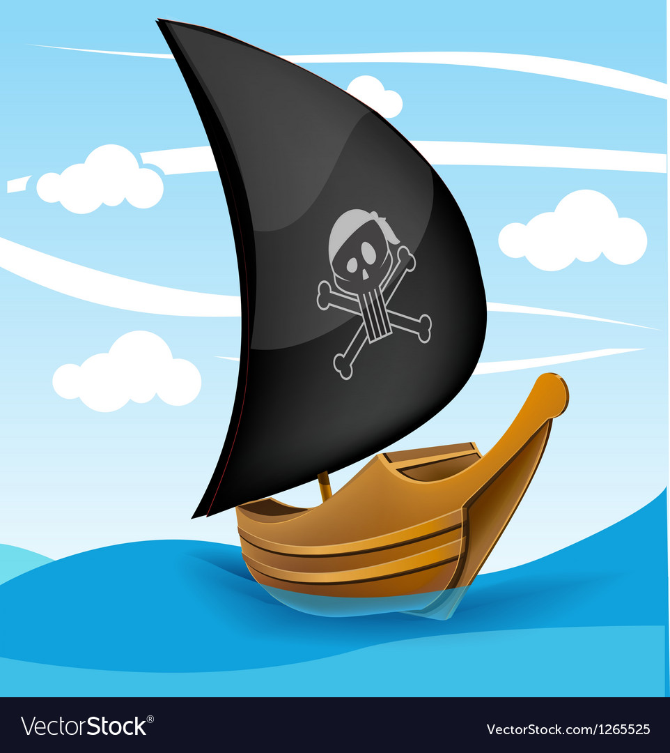 Sail boat with pirate symbol on a cloudy day vector | Price: 1 Credit (USD $1)