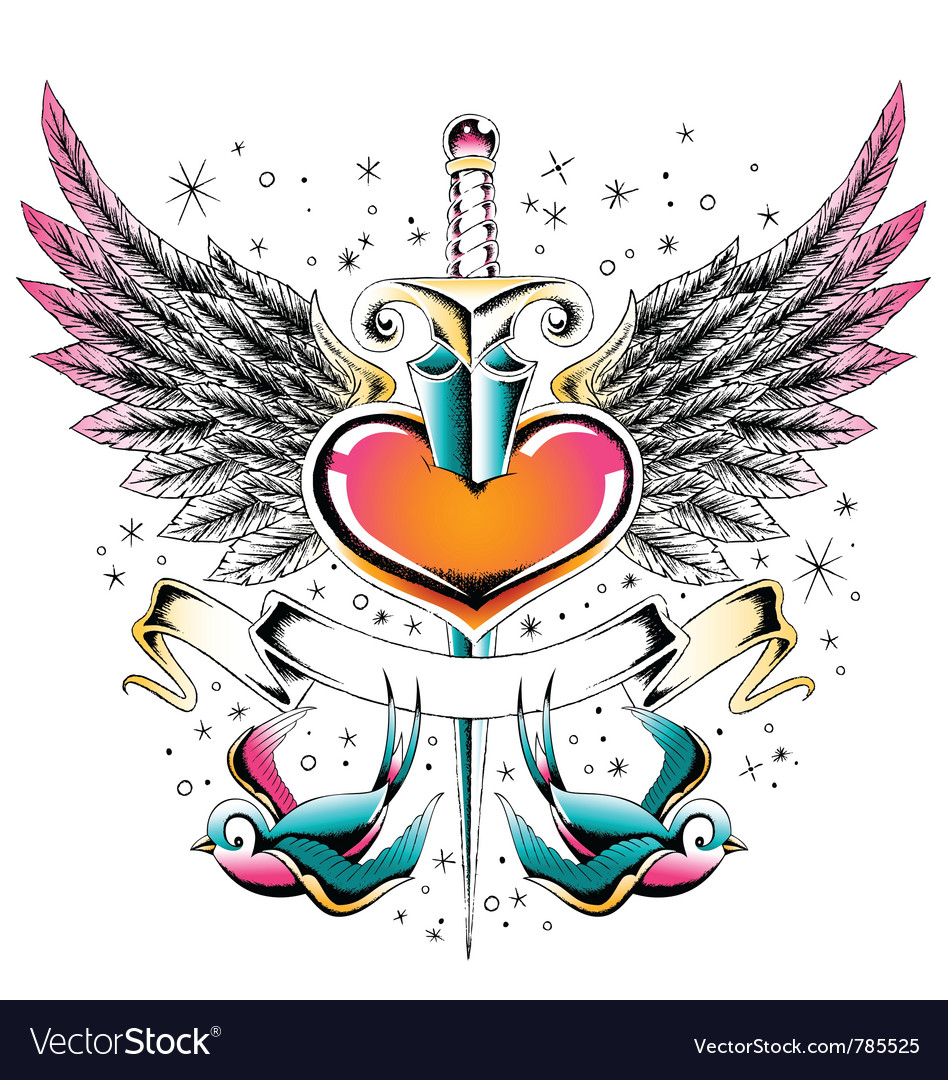 Swallow heart emblem vector | Price: 1 Credit (USD $1)