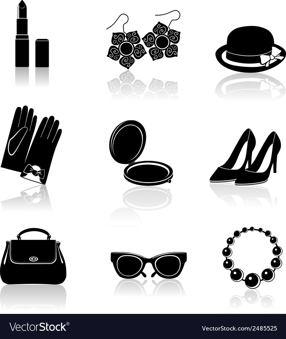 Woman accessories black icon set vector | Price: 1 Credit (USD $1)