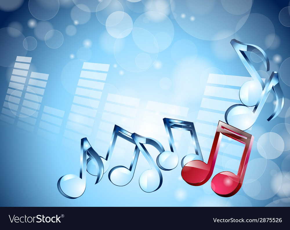3d musical notes on shiny blue background vector | Price: 1 Credit (USD $1)