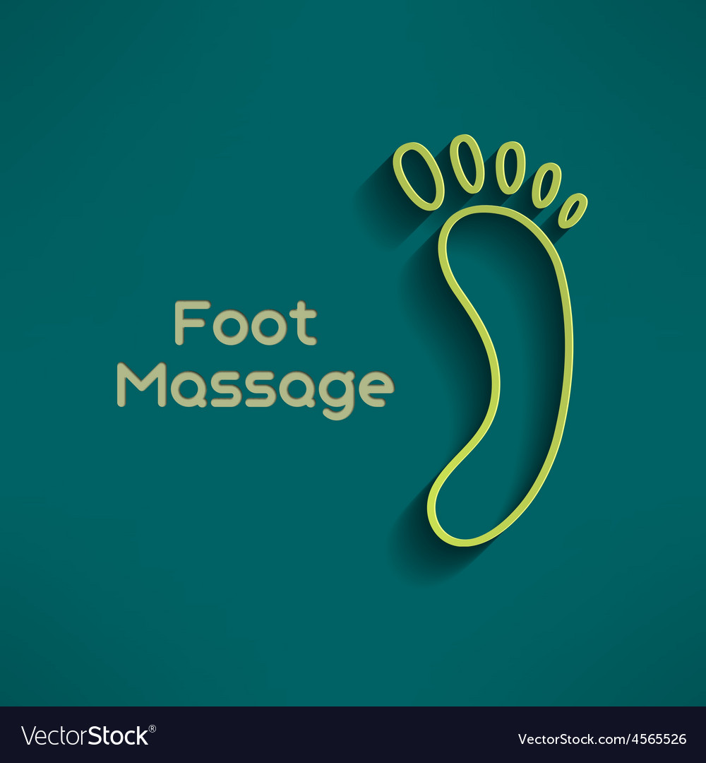 Bright foot massage sign and logo on dark green vector   Price: 1 Credit (USD $1)