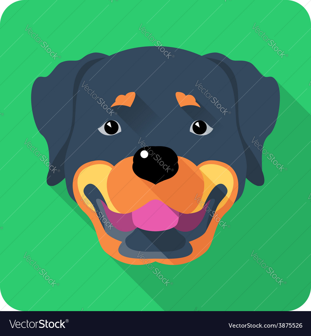 Dog rottweiler icon flat design vector | Price: 1 Credit (USD $1)