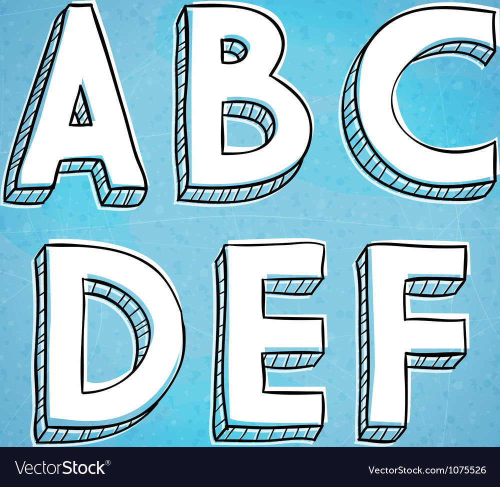 Doodle style hand drawn alphabet a-f vector | Price: 1 Credit (USD $1)