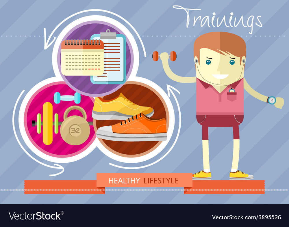 Healthy lifestyle trainings vector | Price: 1 Credit (USD $1)