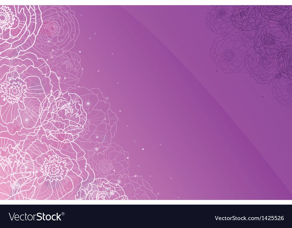 Purple glowing flowers magical horizontal vector | Price: 1 Credit (USD $1)