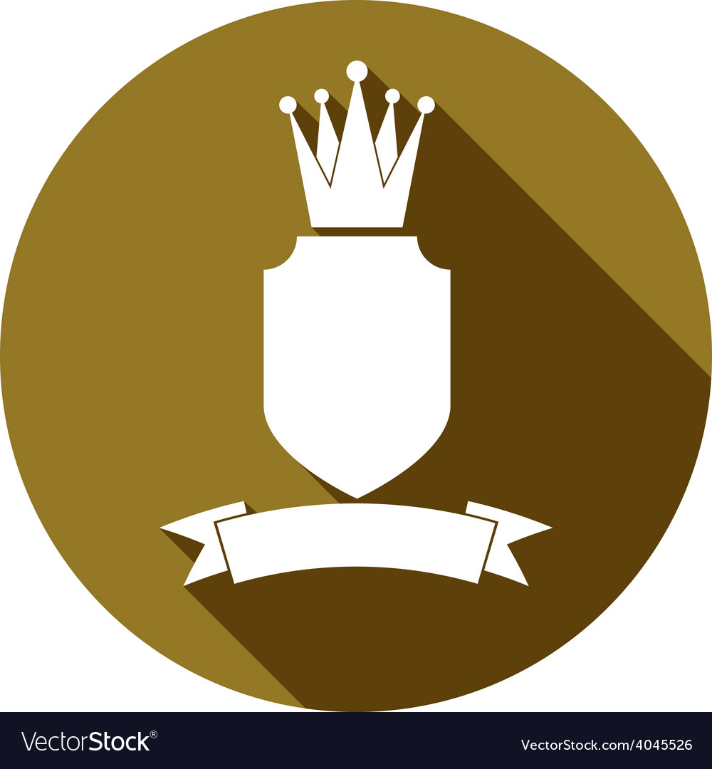 Royal security emblem simple shield with crown and vector | Price: 1 Credit (USD $1)