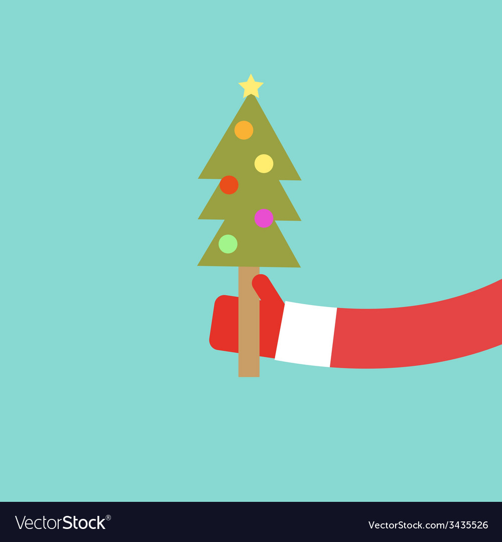 Santa claus holds christmas tree flat design vector | Price: 1 Credit (USD $1)