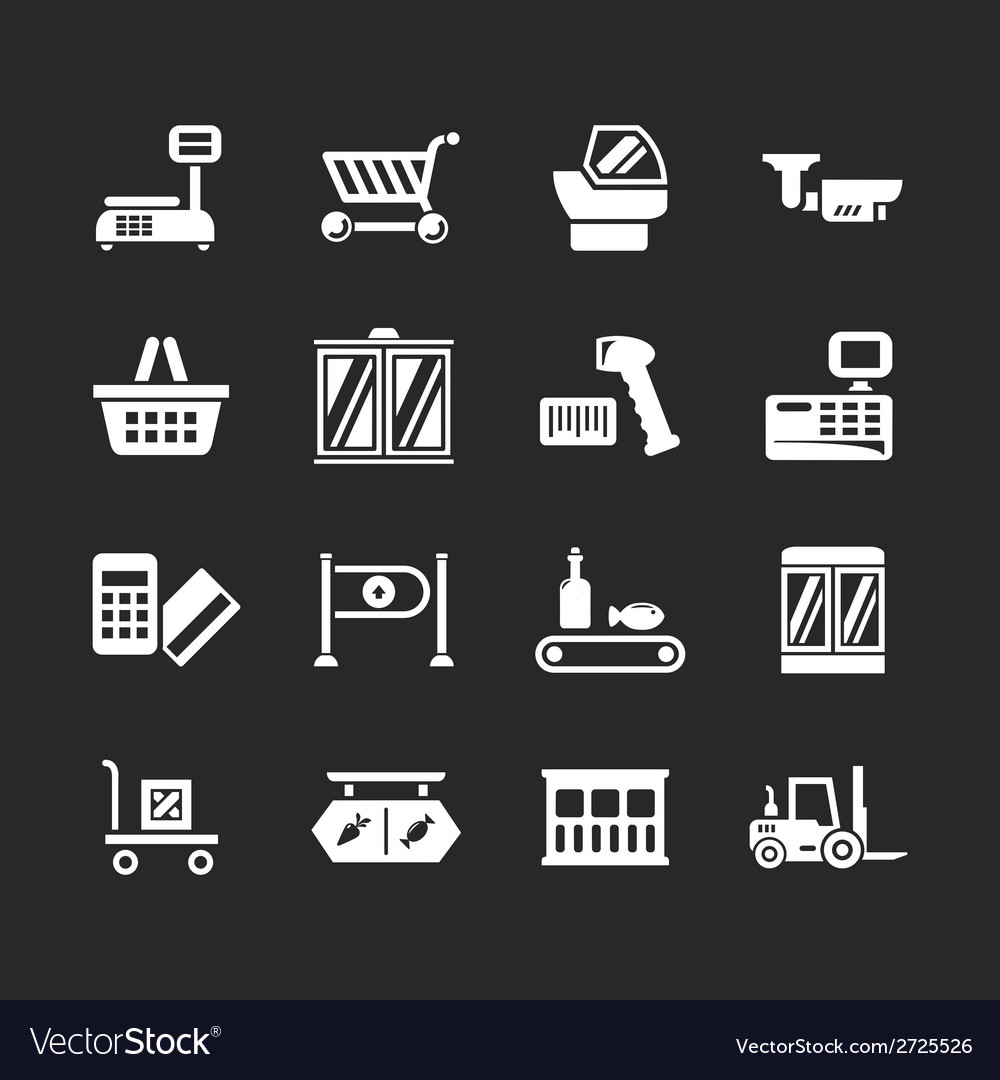 Set icons of retail and supermarket equipment vector   Price: 1 Credit (USD $1)