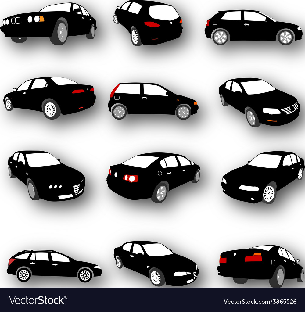 Set of car silhouettes vector | Price: 1 Credit (USD $1)