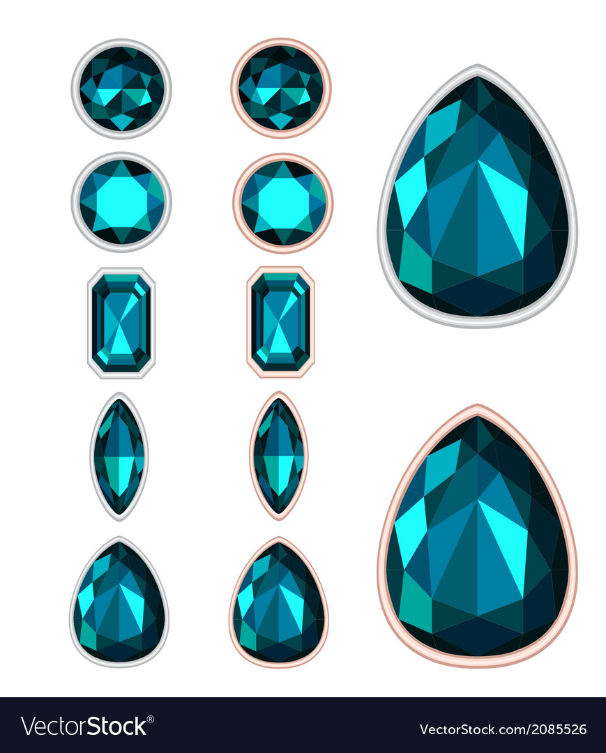 Set of five forms of dark green gemstone cut vector | Price: 1 Credit (USD $1)