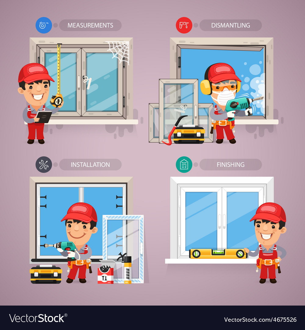 Window installation step by step with handyman vector | Price: 3 Credit (USD $3)