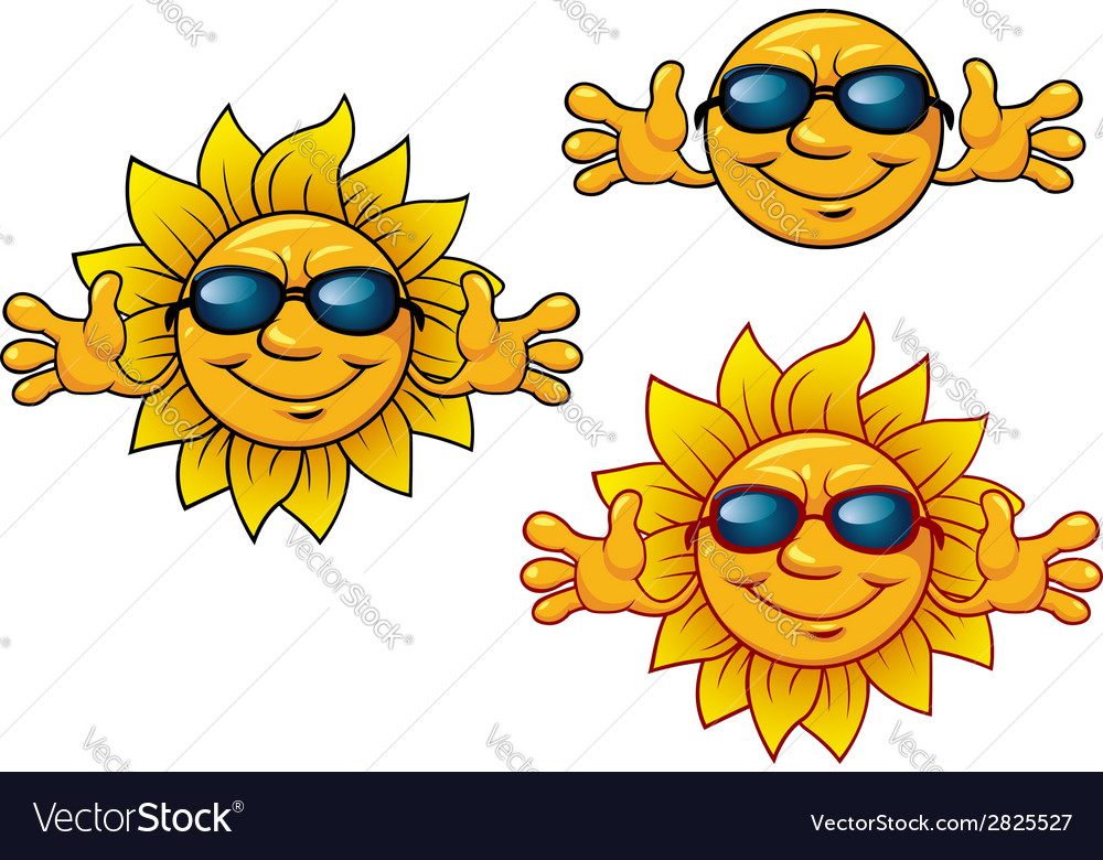 Cartoon smiling sun characters with sunglasses vector | Price: 1 Credit (USD $1)