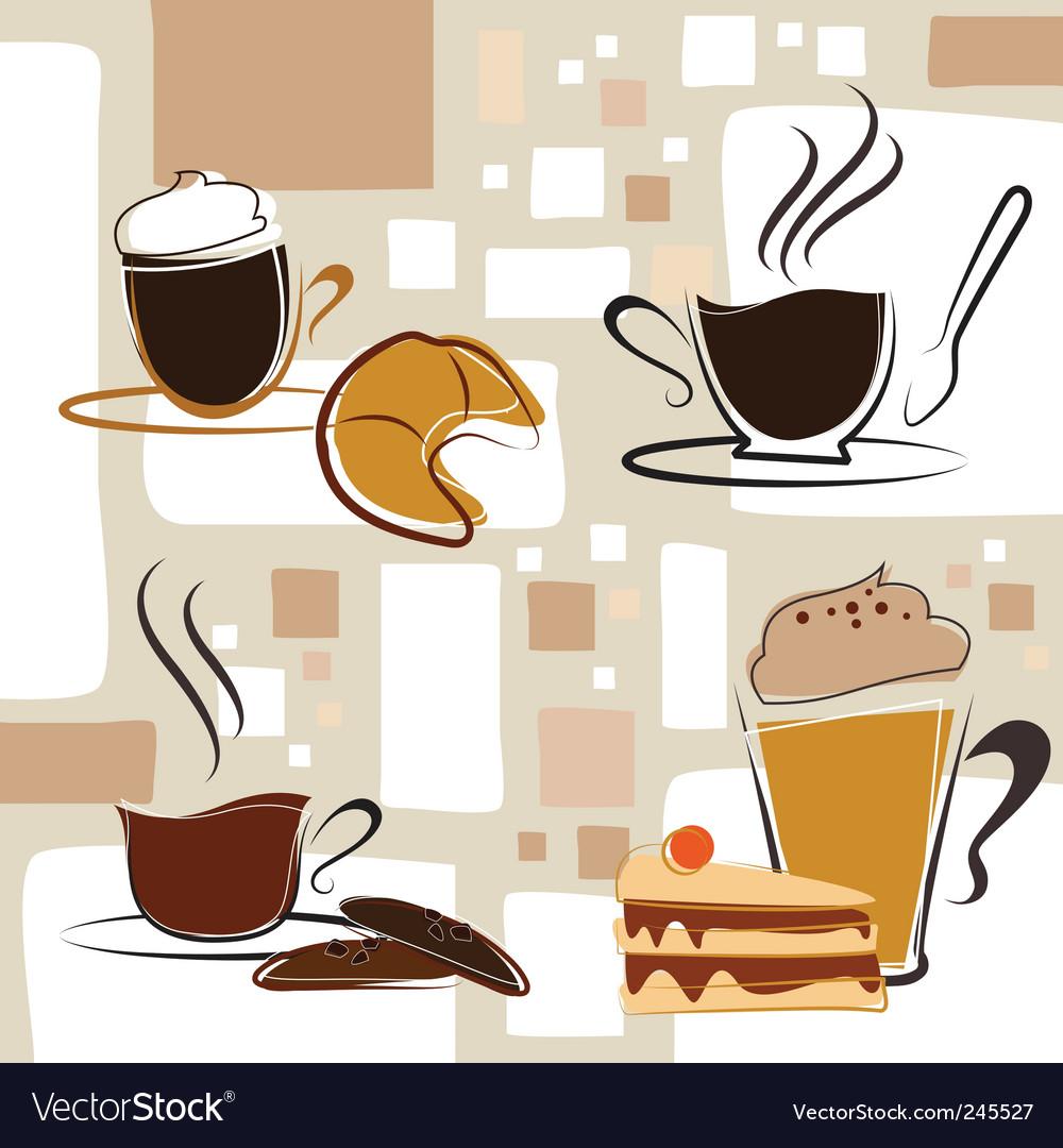 Coffee tea cake vector | Price: 1 Credit (USD $1)