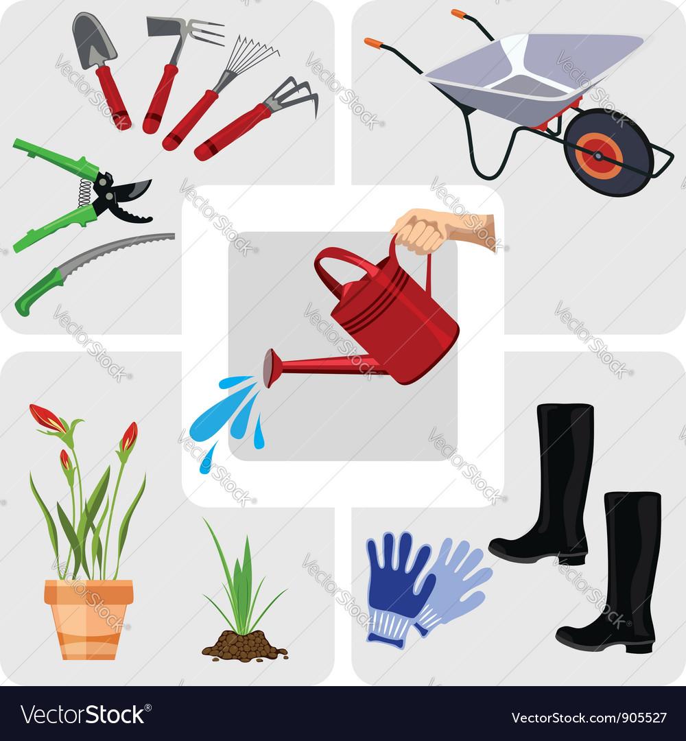 Gardening icons set vector   Price: 1 Credit (USD $1)